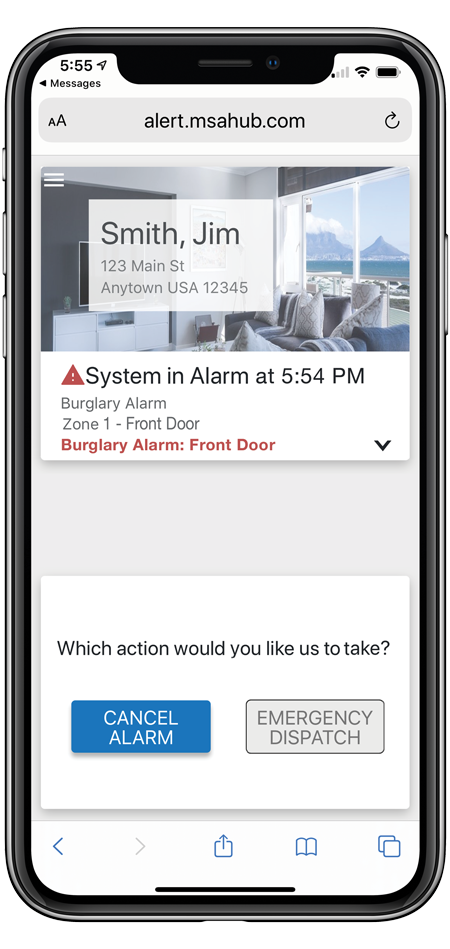 Cancel alarms or dispatch authorities using interactive hand-held control features, the ability to contact emergency contacts and security monitoring systems management.