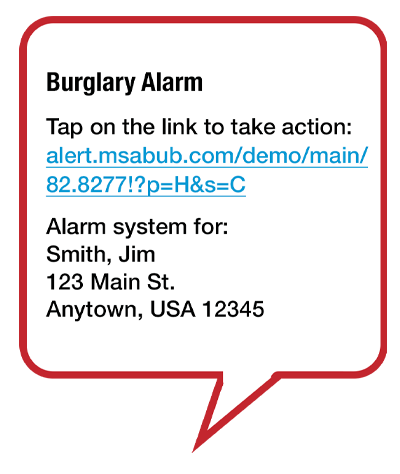 False alarms quickly reported using rapidSMS by simply touching the alarm cancellation button, 'Cancel Alarm', reduce alarm system fines, danger to emergency responders reacting quickly and costs of public safety services.